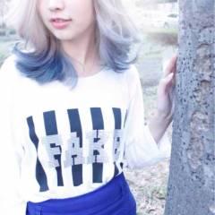 ミディアム ダブルカラー ストリート ハイトーン ヘアスタイルや髪型の写真・画像