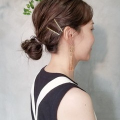 オシャレ ショコラブラウン 簡単ヘアアレンジ ミディアム ヘアスタイルや髪型の写真・画像