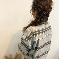 結婚式 編みおろし フェミニン ロング ヘアスタイルや髪型の写真・画像