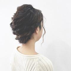 ショート くるりんぱ ロープ編み ヘアアレンジ ヘアスタイルや髪型の写真・画像