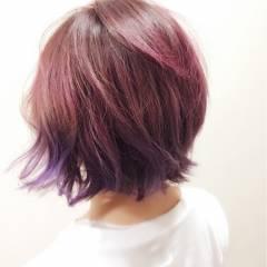 ピンク 春 カラートリートメント レッド ヘアスタイルや髪型の写真・画像