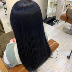 ロング ブルーブラック 暗髪女子 透明感カラー ヘアスタイルや髪型の写真・画像