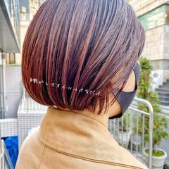ボブ ナチュラル 透け感ヘア ミニボブ ヘアスタイルや髪型の写真・画像