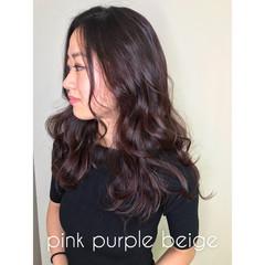 透明感 ナチュラル セミロング ピンク ヘアスタイルや髪型の写真・画像