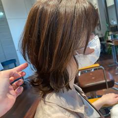 ナチュラル 小顔ヘア くびれボブ ミディアム ヘアスタイルや髪型の写真・画像