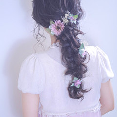 結婚式 ヘアアレンジ ロング 編みおろし ヘアスタイルや髪型の写真・画像