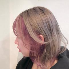 ナチュラル ボブ バレイヤージュ ハイトーンカラー ヘアスタイルや髪型の写真・画像