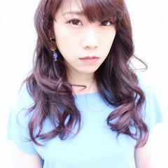 ラベンダーピンク ピンク ガーリー ブリーチなし ヘアスタイルや髪型の写真・画像