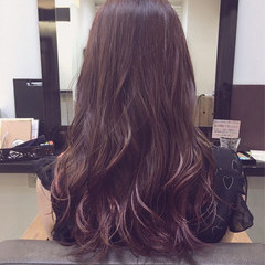 グラデーションカラー ロング ピンク 夏 ヘアスタイルや髪型の写真・画像