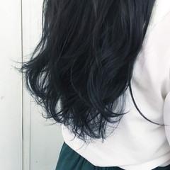 ロング ブルー 暗髪 ブルージュ ヘアスタイルや髪型の写真・画像