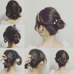 編み込み 簡単ヘアアレンジ ツイスト ミディアム ヘアスタイルや髪型の写真・画像