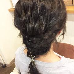 ミディアム ナチュラル ヘアアレンジ 黒髪 ヘアスタイルや髪型の写真・画像