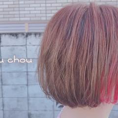 インナーカラー ボブ 秋冬スタイル ガーリー ヘアスタイルや髪型の写真・画像