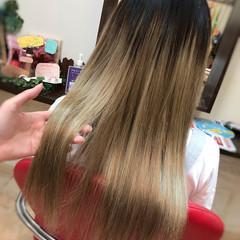 夏 ロング グラデーション エクステ ヘアスタイルや髪型の写真・画像