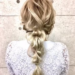 編みおろし ヘアカラー ロング ヘアセット ヘアスタイルや髪型の写真・画像