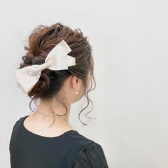 ヘアアレンジ ヘアアクセ ミディアム 結婚式 ヘアスタイルや髪型の写真・画像