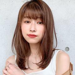 ミディアム レイヤーカット 鎖骨ミディアム 透明感カラー ヘアスタイルや髪型の写真・画像