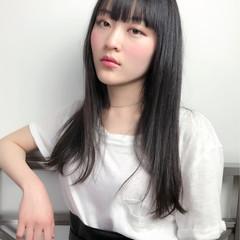 ナチュラル 黒髪 ロング 切りっぱなし ヘアスタイルや髪型の写真・画像