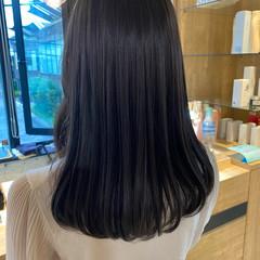 アッシュグレージュ ブルージュ 暗髪 ミディアム ヘアスタイルや髪型の写真・画像