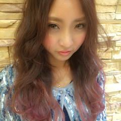 グラデーションカラー 外国人風 ストリート フェミニン ヘアスタイルや髪型の写真・画像
