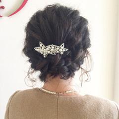 簡単ヘアアレンジ 波ウェーブ ヘアアレンジ 編み込み ヘアスタイルや髪型の写真・画像