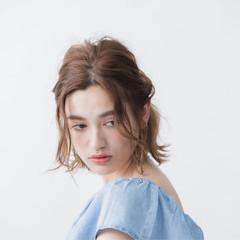 簡単ヘアアレンジ ハーフアップ ピュア ボブ ヘアスタイルや髪型の写真・画像