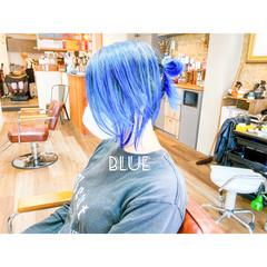 ターコイズブルー ネイビーブルー インナーブルー ブルー ヘアスタイルや髪型の写真・画像