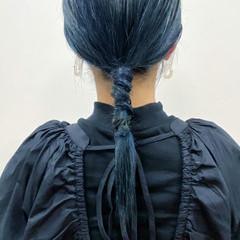 ブルーブラック ブラックグレー ネイビーブルー モード ヘアスタイルや髪型の写真・画像