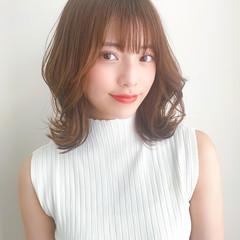 ミディアム 韓国ヘア 前髪あり 韓国 ヘアスタイルや髪型の写真・画像