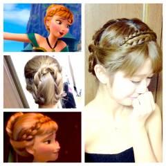 編み込み ヘアアレンジ コンサバ パーティ ヘアスタイルや髪型の写真・画像