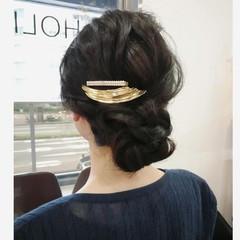 ダークトーン ロング 結婚式 簡単ヘアアレンジ ヘアスタイルや髪型の写真・画像
