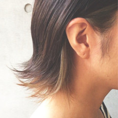 インナーカラー ハイライト モード ボブ ヘアスタイルや髪型の写真・画像