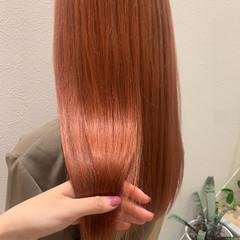 アプリコット ピンク ロング サーモンピンク ヘアスタイルや髪型の写真・画像