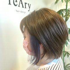 大人可愛い インナーカラー ナチュラル可愛い インナーブルー ヘアスタイルや髪型の写真・画像