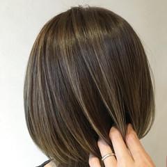 コントラストハイライト ショートボブ ハイライト 極細ハイライト ヘアスタイルや髪型の写真・画像