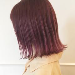 フェミニン ボブ 外ハネ ピンク ヘアスタイルや髪型の写真・画像