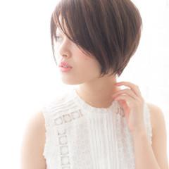 前髪あり 大人かわいい 暗髪 ショートボブ ヘアスタイルや髪型の写真・画像