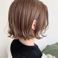 切りっぱなしボブ ボブ ナチュラルベージュ ブラウンベージュ ヘアスタイルや髪型の写真・画像