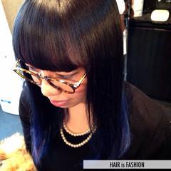 モード 大人かわいい グラデーションカラー ブルー ヘアスタイルや髪型の写真・画像