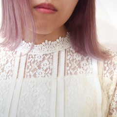 ミニボブ フェミニン ピンクパープル ピンクカラー ヘアスタイルや髪型の写真・画像