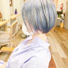 ボブ ピンクパープル パープルアッシュ ラベンダー ヘアスタイルや髪型の写真・画像