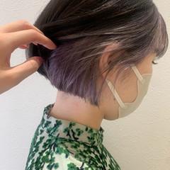 インナーカラー ボブ ミニボブ ラベンダー ヘアスタイルや髪型の写真・画像