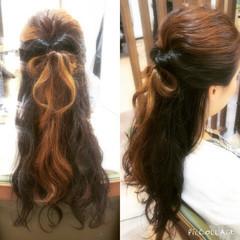 ヘアアレンジ ロング ハーフアップ インナーカラー ヘアスタイルや髪型の写真・画像