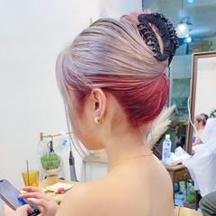 ストリート アッシュベージュ ブリーチカラー インナーカラー ヘアスタイルや髪型の写真・画像