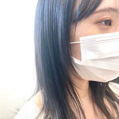 韓国ヘア ナチュラル グレージュ ブルーブラック ヘアスタイルや髪型の写真・画像