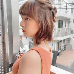 簡単ヘアアレンジ シースルーバング セルフヘアアレンジ ミディアム ヘアスタイルや髪型の写真・画像