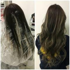 外国人風 ナチュラル グラデーションカラー 黒髪 ヘアスタイルや髪型の写真・画像
