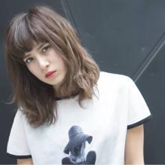 モード ストリート 外国人風 セミロング ヘアスタイルや髪型の写真・画像