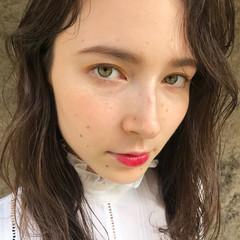 セミロング パーマ 上品 ハイライト ヘアスタイルや髪型の写真・画像