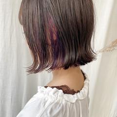 フェミニン 切りっぱなしボブ ボブ 外ハネボブ ヘアスタイルや髪型の写真・画像